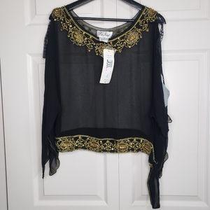 La Nuit beaded silk blouse nwt